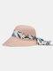 Femmes paille solide calicot imprimé Streamer Bowknot décor respirant parasol chapeau de paille pliable - Rose