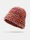 Women Woolen Rainbow Color Cuffed Ear Protection Warm Casual Beanie Bucket Hat - Orange