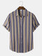 Mens Striped Casual Short Sleeve Lapel Curved Hem Shirt - Khaki