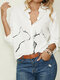 Cute Cat Print Button Long Sleeve Casual Blouse for Women - White