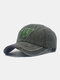 Unisex Washed Cotton Solid Color Letter Embroidery Retro All-match Baseball Cap - Green