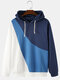 Mens Color Contrast With Irregular Stitching Drawstring Hoodies - Blue
