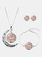3 Pcs Printed Men Women Jewelry Set Wearing Garland Hollow Half Moon Necklace Bracelet Earring - #05
