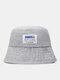 Unisex Denim Letters Korean Labeling Sun Protection Bucket Hat - Light Blue