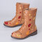 LOSTISY Women Flowers Embroidered Zipper Mid Calf Chunky Heel Knight Boots - Brown