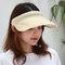 Women Collapsible Summer Shading Empty Top Hat - Beige