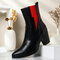 Plus Size Women Casual Solid Color Simple Pointed Toe Zipper Chunky Heel Chelsea Boots - Black 1#