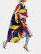 Vintage Printed Long Sleeve Turn-down Collar Coat For Women - Yellow