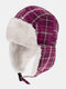 Men & Women Plaid PatternCold-proof Winter Trapper Hat Thick Winter Hat Ear Protection Trapper Hat - Wine Red