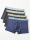 4 Pack Mens Contrast Piping Ice Silk Breathable Cozy Waistband Boxer Briefs - #01