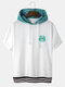 Designer Mens Flower Embroidery Patchwork Casual Ribbed Hem Hooded T-Shirt - White