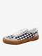Women Classic Stitching Gingham Comfy Breathable Non Slip Lace Up Canvas Shoes - Black White