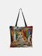 Frauen Leinwand Nette Cartoon Ölgemälde Katze Drucken Wasserdichte Einkaufstasche Umhängetasche Handtasche Tasche - #07