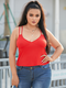 Solid Color Straps Backless Plus Size Tank Top - Red