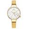 Waterproof Elegant Women Wrist Watch Genuine Leather Strap Quartz Watch - Yellow
