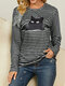 Black Cat Print Long Sleeves O-neck Striped Casual T-shirt For Women - Gray