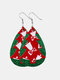 Christmas Double Layer Leather Women Earrings Drop Shape Christmas Tree Pendant Earrings - #03