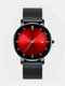 Alloy Business Gradient Color Multi-function Mesh Strap Watch - Black+Red