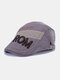 Men Cotton Letter Argyle Pattern Eembroidery Sunscreen Casual Beret Flat Caps - Gray