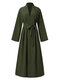 Cárdigan informal de manga larga con nudo en color liso Plus para Mujer - Ejercito verde