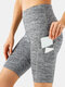 Women High Elastic Quick-Drying Yoga Sports High Waist Shorts With Side Pocket - Grey