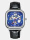 8 Colors Square Men Business Watch Waterproof Automatic Hollow Mechanical Watch - Silver Case Blue Dial Leather Ba