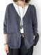 Solid Color Knitting Long Sleeve Casual Cardigan For Women - Blue