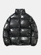 Mens Thicken Reflective Warm Stand Collar Zipper Casual Down Coat - Black