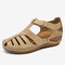 LOSTISY Women Breathable Beach Casual Wedges Sandals - Apricot