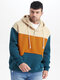 Plus Size Mens Panel Stitching Quarter Button Casual Overhead Hoodies - Blue