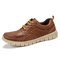 Menico Men Light Weight Comfy Soft Lace Up Walking Shoes - Brown