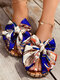 Large Size Women Printing Bow Espadrilles Slippers - Blue