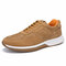 Men Sports Comfy Slip Resistant Outdoor Microfiber Leather Casual Sneakers - Brown