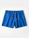 Pure Color Cotton Lounge Trunks Breathable Gym Running Sport Shorts With Pockets - Blue