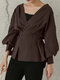 Solid V-neck Lantern Long Sleeve Knotted Loose Women Blouse - Coffee