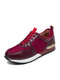 Women Solid Color Casual Splicing Mesh Lace Up Sports Running Shoes - Red