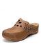 LOSTISY Полые однотонные закрытые носки Тапки Повседневные легкие удобные танкетки Сандалии - коричневый