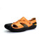 Men Closed Toe Wearable Non Slip Hard Wearing Cowhide Leather Sandals - Brown