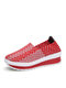 Women Comfy Casual Breathable Elastic Woven Detail Platform Rocker Sole Sneakers - Red
