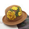 Women Embroidery Printed Straw Hat Ethnic Style Retro Sun Hat - Coffee