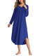 Asymmetrical Loose Long Sleeve Solid Color Dress - Royal Blue