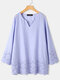 Solid Color Floral Embroidered Long Sleeve Casual Blouse for Women - Blue