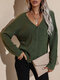 V-neck Long Sleeve Button Women Solid Knitted Cardigan - Army Green