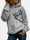 Cat Print Long Sleeve Pocket Casual Hoodie For Women - Gray