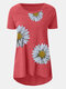 Daisy Print O-neck Short Sleeve Casual Plus Size T-shirt - Red