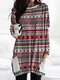 Christmas Striped Print Long Sleeve O-neck Casual Blouse For Women - Red