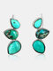 Vintage Turquoise Earrings Drop-Shaped Hippie Reptile Natural Stone Ear Stud - Silver