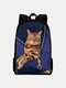Women Oxford Patchwork Large Capacity Cat Pattern Printing Backpack - Blue