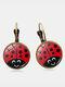 Vintage Seven-stars Ladybug Pattern Drop-shape Alloy Glass Sheet Earrings - #03