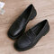 Women's Casual Solid Color Slip On Flat Loafers Shoes - Black
